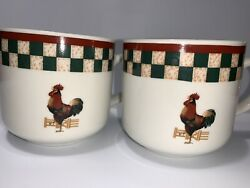 Betty Crocker Coffee Mug Tea Cup Rooster Country Inn Collection Set Of Two A8-72
