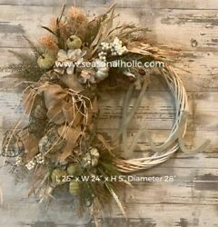 """Handmade Farmhouse Front Door Fall Wreath Ivory And Sage 28"""" Diameter"""