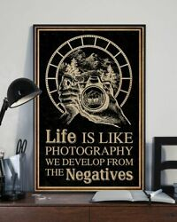 Life Is Like Photography Retro Black Poster Print 24x36 Inches Poster Wall Art