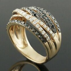 Effy Solid 14k Gold .54 Ctw White And 1.08 Ctw Black Diamond Crossover Estate Ring