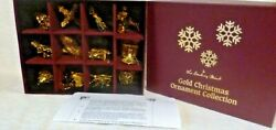 Set Of 12 +1 Danbury Mint 2013 Gold Christmas Ornaments With Box