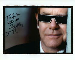 Elton John Signed Autograph 8x10 Photo - To Justin Tumbleweed Connection, Real