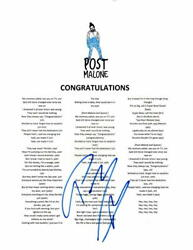 Post Malone Signed Autograph Congratulations Lyric Sheet Beerbongs And Bentleys