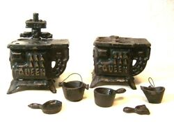 Lot Of 2 Vintage Queen Mini Cast Iron Coal Stoves And 5 Accessories Toy Dollhouse