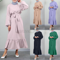 Womens Muslim Puff Sleeve Ruffles Ladies Elegent Party Holiday Maxi Shirt Dress