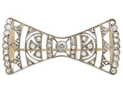 Antique Austro-hungarian 0.49ct Diamond And 14k Yellow Gold Bow Brooch 1920s
