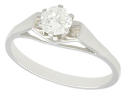 Antique And Vintage 0.59 Ct Diamond 18k White Gold Solitaire Engagement Ring