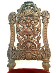 Antique Pair Neo Renaissance Chair Very Intricate High Relief Carved Wood Faces