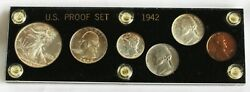 1942 6 Coin Proof Set 1c 2 5c 10c 25c 50c 4 Silver Coins In Acrylic Holder