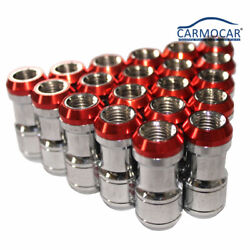 20 Pcs Extended Dust Cap Red Steel Lug Nuts M12x1.5 Wheel Rims Tuner With Lock