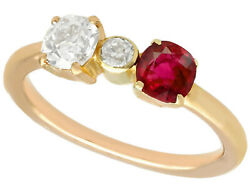 0.64ct Diamond And 0.45ct Ruby 15ct Yellow Gold Dress Ring - Vintage Circa 1950