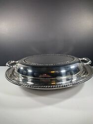 """Wa Rogers Silver Plate Covered Serving Dish 11.5"""" By 9"""""""