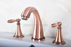 New Red Copper Antique 3 Holes Basin Widespread Bathroom Faucet Sink Tap Erg075