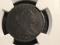 1798 Large Cent 1st Hair S-154 R-4 Ngc Vf Details Very Light Corrosion Nice