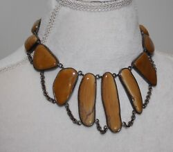 Vintage Custom Made Sterling Silver And Gold/brown Stone Turquoise Necklace