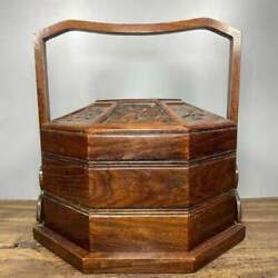 Chinese Exquisite Natural Rosewood Hand Carved Food Box Statue 00667