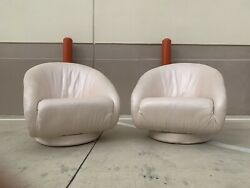 1980s Vintage Natuzzi Italian Leather Rolled Arm Lounge Plinth Swivel Chairs