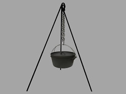 Tripod Camping Outdoor Cooking Campfire Picnic Pot Cast Iron Fire Oven Grill
