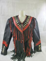 Custom Made One Off Black And Red Leather Biker Jacket Cherokee Indian Made...