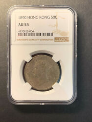 Hong Kong Queen Victoria 50 Cents 1890 Toned Lustre Almost Uncirculated Ngc Au55