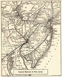 1924 Antique Central Railroad Of New Jersey Map Vintage Railway Map 8442