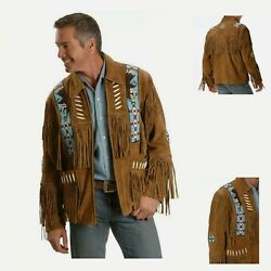 Men's Native American Western Style Wear Suede Cowboy Leather Jacket With Fringe