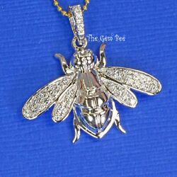 25mm 14k White Gold Diamond Large Honey Bee Bumble Bee Charm Necklace Pendant