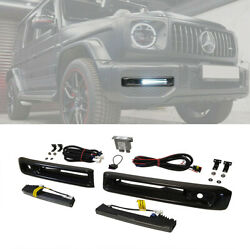 G Wagon Carbon Fiber Bumper Fog Lights Covers With Led For Mercedes W463a W464