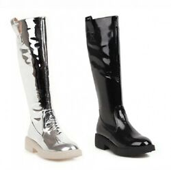 Womenand039s Mid Calf Boots Zip Low Heel Round Toe Knight Motor Outdoor Shoes 34/43 L
