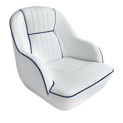 Leader Accessories Deluxe Bucket Boat Seat White/blue Piping