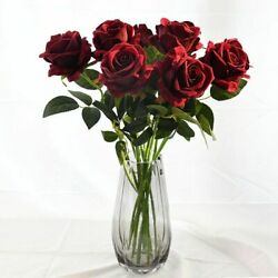 Flowers Bunch Wedding Single Head Rose Decor Real Touch Roses Bouquet 10 Pcs New