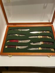 Nahc Hunting Heritage Knife Collection Set And Case Bear Buck Winchester Bone Horn