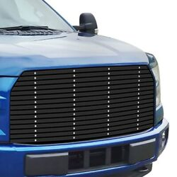 For Ford F-150 15-17 Apg 1-pc Black Double E 20 Mm Horizontal Billet Main Grille