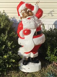 African American Black Santa Blow Mold Vintage Christmas Lawn Decor 45 Inches