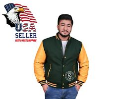 Varsity Jacket Letterman Bomber Forest Green Wool And Genuine Cowhide Leather Gold