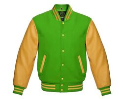 Varsity Jacket Letterman Bomber Kelly Green Wool And Genuine Cowhide Leather Gold