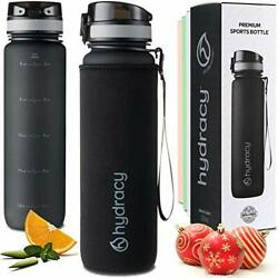 Water Bottle With Time Marker - Large 1 Liter 32 Oz Bpa Free 32oz Space Grey