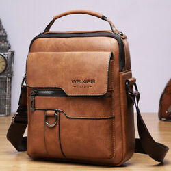 Men#x27;s Business pu Leather Shoulder Messenger Bag 8quot; Handbag Outdoor Sport Bag $22.99