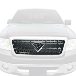 For Ford F-150 04-08 Apg 1-pc Black Double Layer Laser Cut Sheet Main Grille