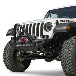 For Jeep Gladiator 20 Rock Fighter Stubby Black Front Winch Hd Bumper W Stinger