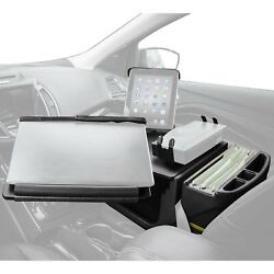 Reach Front Seat Black Desk With Built-in Power Inverter Printer Stand And
