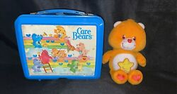 Vintage 1985 Aladdin Care Bears Plastic Lunchbox With Plush Care Bare Toy