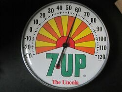 Vtg 1970and039s The Uncola 7 Up Peter Max Style Sunburst 12advertising Thermometer
