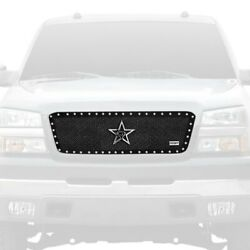 For Chevy Silverado 1500 06 Main Grille 1-pc Rx-5 Halo Series Black Dual Weave