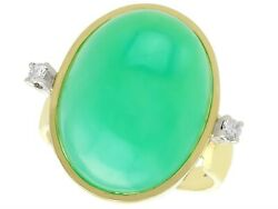 Antique 14.98 Ct Chrysoprase And Diamond 14k Yellow Gold Dress Ring 1930s