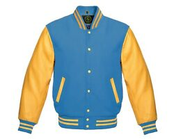 Varsity Jacket Letterman Baseball Bomber Columbia Blue Wool And Gold Cow Leather