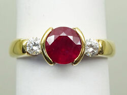 Estate 1.10ct Natural Ruby And Diamond Mc Signed Ring 18k Gold Size 6