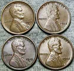 1913-s 1918 1919-s 1932 Lincoln Cent Wheat Penny ---- Nice Lot ---- H912