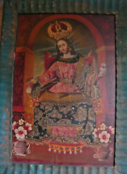 Old Mexican Religious Folk Art Framed Oil Painting-the Virgin Mary Wearing Crown