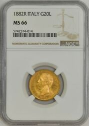 1882r Italy Gold 20 Lire Ms66 Ngc 943596-52
